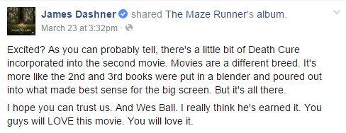 Animados? Como vocês podem perceber tem um pouquinho do livro A Cura Mortal incorporado no segundo filme. Filmes têm uma atmosfera diferente. É mais como se o segundo e o terceiro livro tivessem sido colocados juntos e misturados de uma forma que façam sentido na telona. Mas tudo está lá. Espero que possam confiar em nós. E em Wes Ball. Realmente acho que ele merece. Vocês vão amar esse filmes, Vocês vão amar.